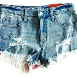 Mossimo Distressed USA Flag Denim